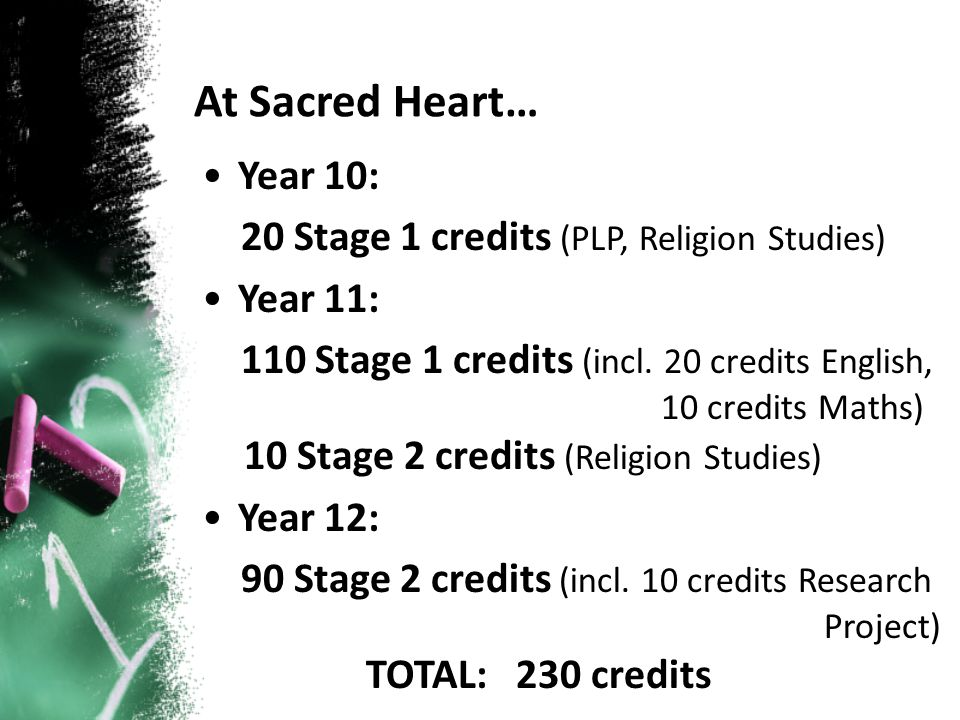 At Sacred Heart… Year 10: 20 Stage 1 credits (PLP, Religion Studies) Year 11: 110 Stage 1 credits (incl. 20 credits English, 10 credits Maths) 10 Stag