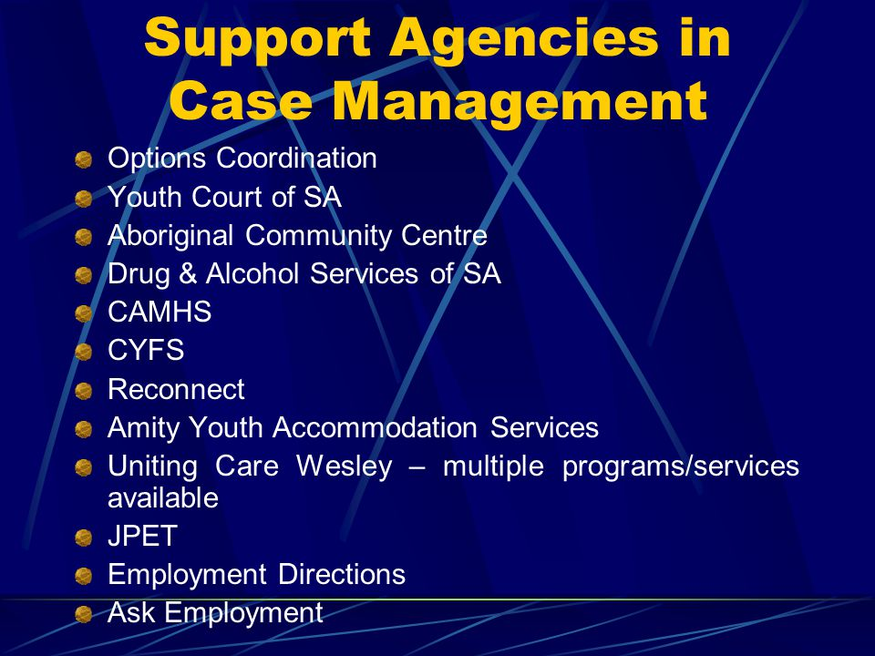 Support Agencies in Case Management Options Coordination Youth Court of SA Aboriginal Community Centre Drug & Alcohol Services of SA CAMHS CYFS Reconn