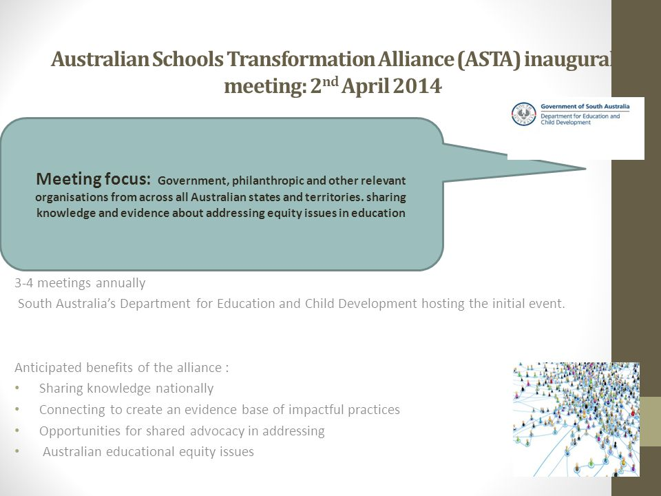 Australian Schools Transformation Alliance (ASTA) inaugural meeting: 2 nd April 2014 3-4 meetings annually South Australia's Department for Education and Child Development hosting the initial event.