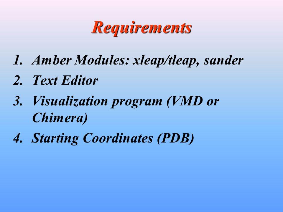 Simple Amber Setup Workflow (Minimization) PDB Original Xleap/tleap Text Editor PDB Modified Topology File (prmtop ) Coordinate File (inpcrd) Control Data (mdin) sander Output Info (mdout) Final Coord (restrt)