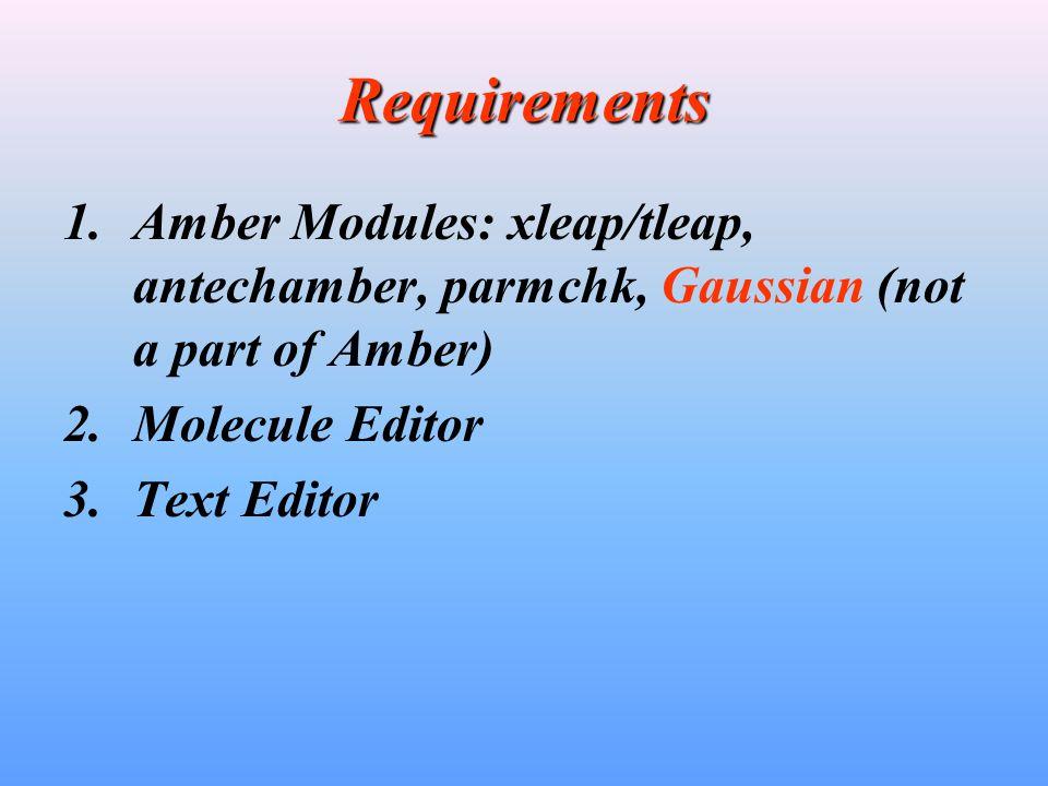 Requirements 1.Amber Modules: xleap/tleap, antechamber, parmchk, Gaussian (not a part of Amber) 2.Molecule Editor 3.Text Editor
