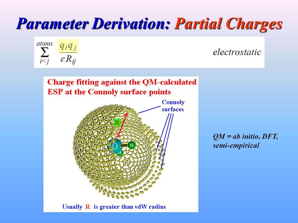 Parameter Derivation: Partial Charges QM = ab initio, DFT, semi-empirical
