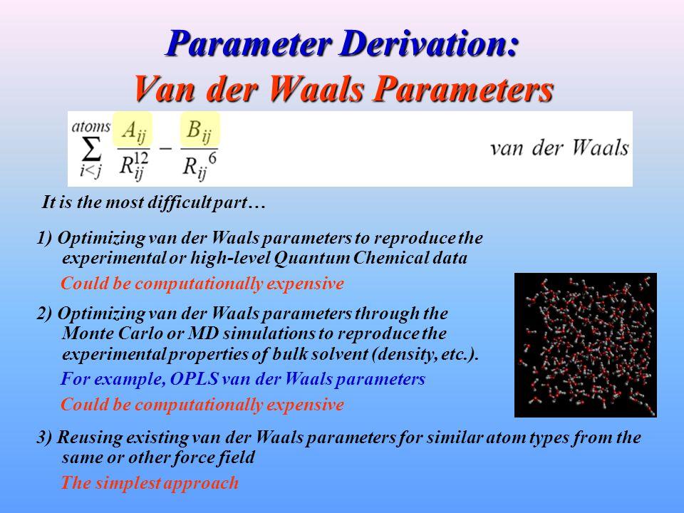 Parameter Derivation: Van der Waals Parameters It is the most difficult part… 1) Optimizing van der Waals parameters to reproduce the experimental or