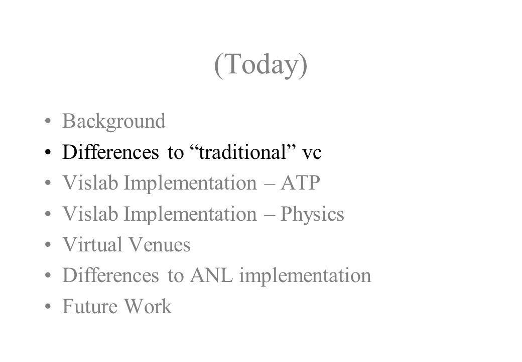 (Today) Background Differences to traditional vc Vislab Implementation – ATP Vislab Implementation – Physics Virtual Venues Differences to ANL implementation Future Work