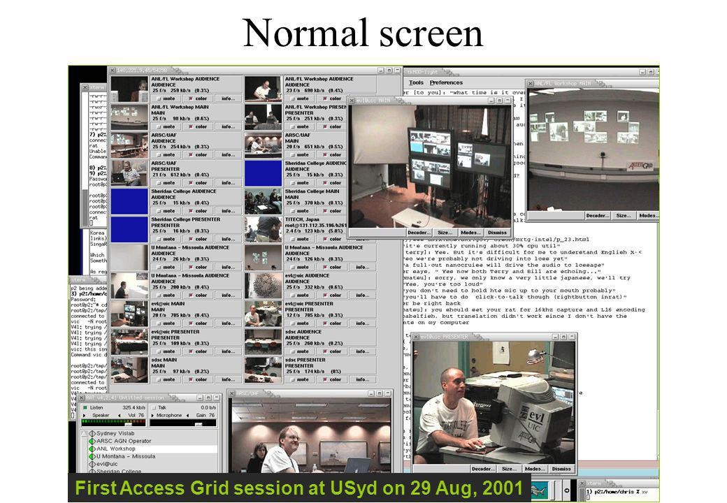 Normal screen First Access Grid session at USyd on 29 Aug, 2001
