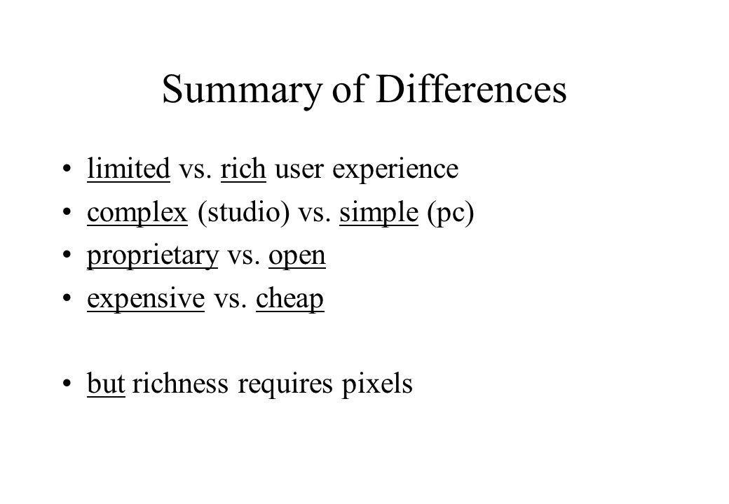 Summary of Differences limited vs. rich user experience complex (studio) vs.