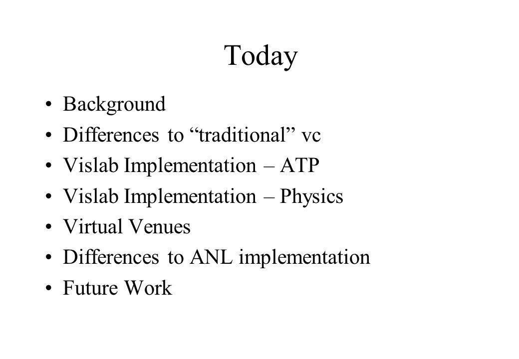 Today Background Differences to traditional vc Vislab Implementation – ATP Vislab Implementation – Physics Virtual Venues Differences to ANL implementation Future Work