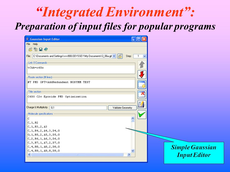 Integrated Environment : Preparation of input files for popular programs Simple Gaussian Input Editor