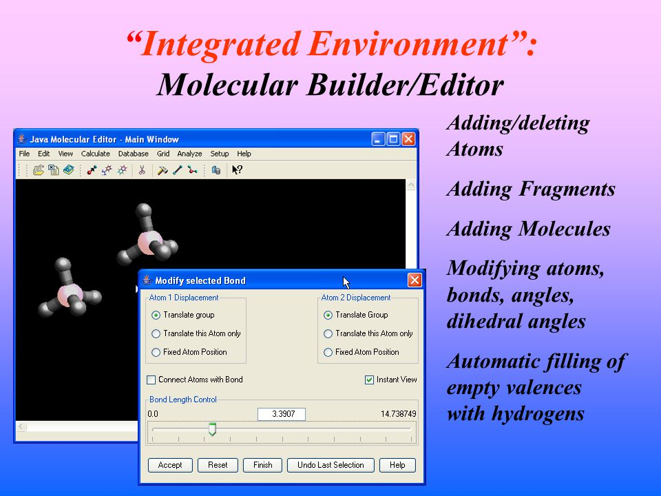 Integrated Environment : Molecular Builder/Editor Adding/deleting Atoms Adding Fragments Adding Molecules Modifying atoms, bonds, angles, dihedral angles Automatic filling of empty valences with hydrogens
