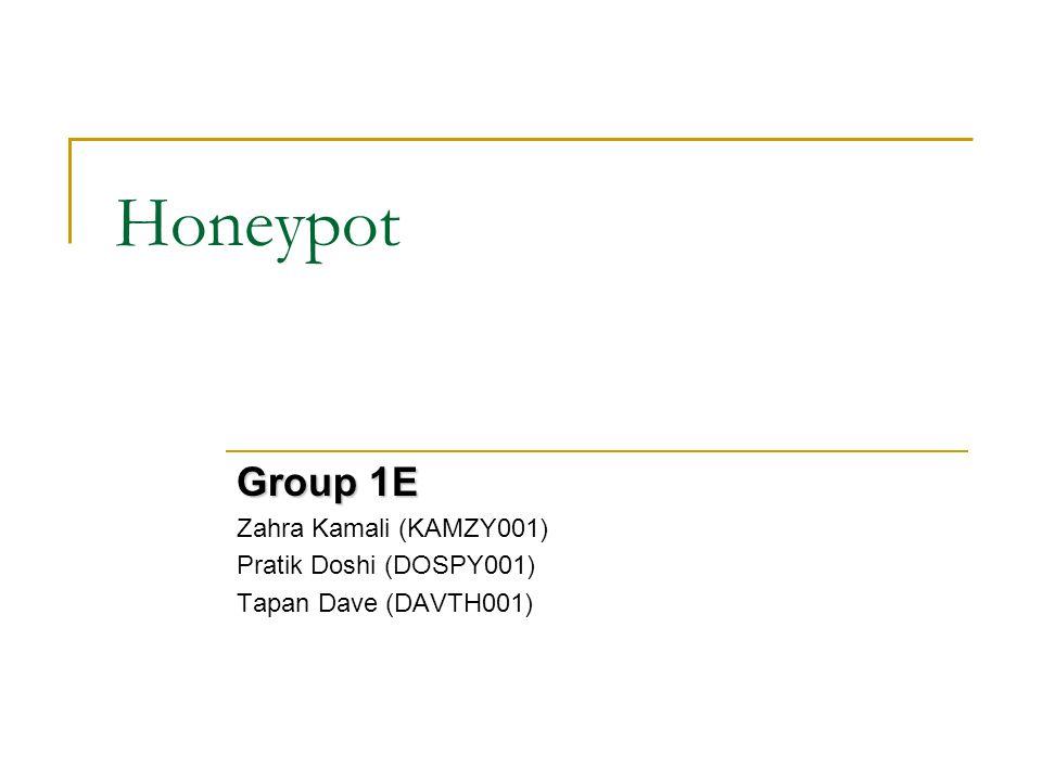 Honeypot Group 1E Zahra Kamali (KAMZY001) Pratik Doshi (DOSPY001) Tapan Dave (DAVTH001)