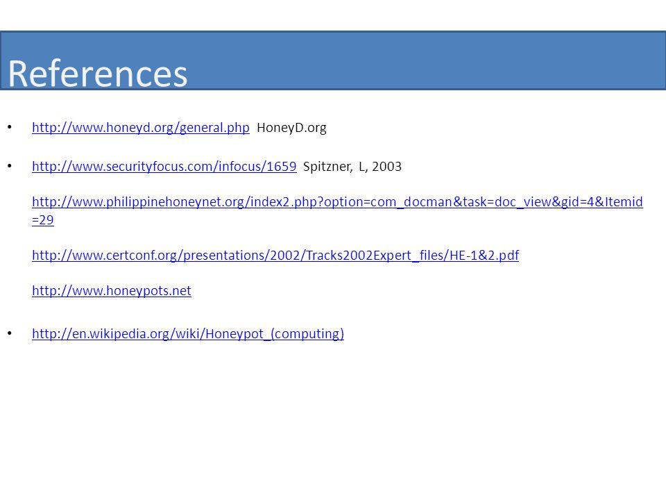 References http://www.honeyd.org/general.php HoneyD.org http://www.honeyd.org/general.php http://www.securityfocus.com/infocus/1659 Spitzner, L, 2003 http://www.philippinehoneynet.org/index2.php option=com_docman&task=doc_view&gid=4&Itemid =29 http://www.certconf.org/presentations/2002/Tracks2002Expert_files/HE-1&2.pdf http://www.honeypots.net http://www.securityfocus.com/infocus/1659 http://www.philippinehoneynet.org/index2.php option=com_docman&task=doc_view&gid=4&Itemid =29 http://www.certconf.org/presentations/2002/Tracks2002Expert_files/HE-1&2.pdf http://www.honeypots.net http://en.wikipedia.org/wiki/Honeypot_(computing)