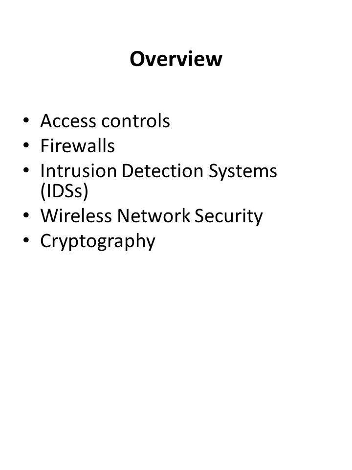 Overview Access controls Firewalls Intrusion Detection Systems (IDSs) Wireless Network Security Cryptography