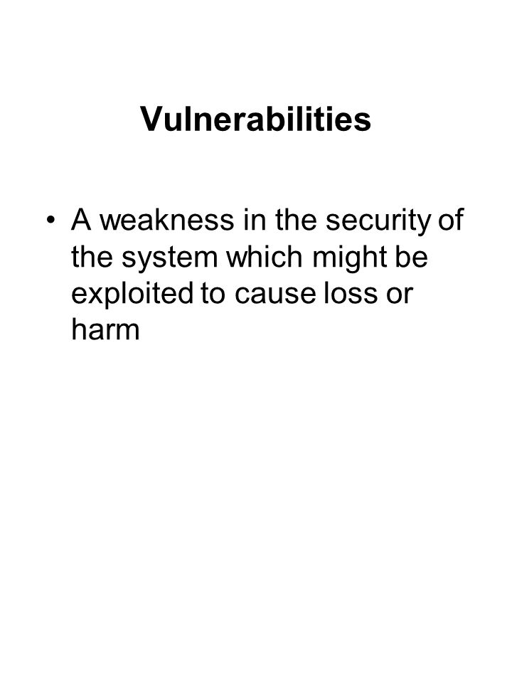 Vulnerabilities A weakness in the security of the system which might be exploited to cause loss or harm