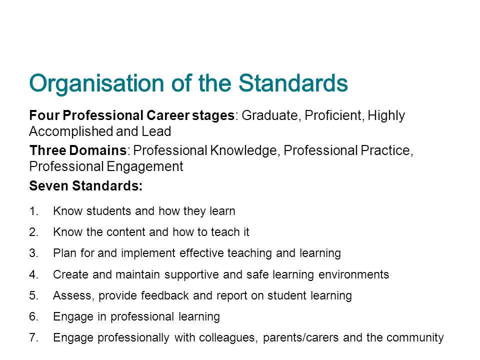 Four Professional Career stages: Graduate, Proficient, Highly Accomplished and Lead Three Domains: Professional Knowledge, Professional Practice, Prof