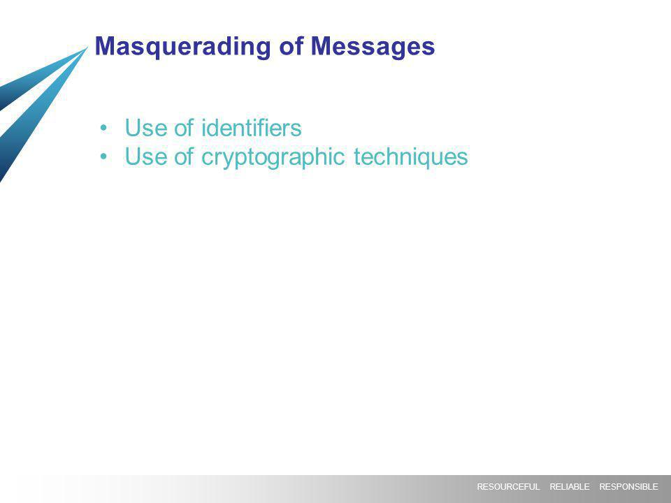 RESOURCEFUL RELIABLE RESPONSIBLE Masquerading of Messages Use of identifiers Use of cryptographic techniques