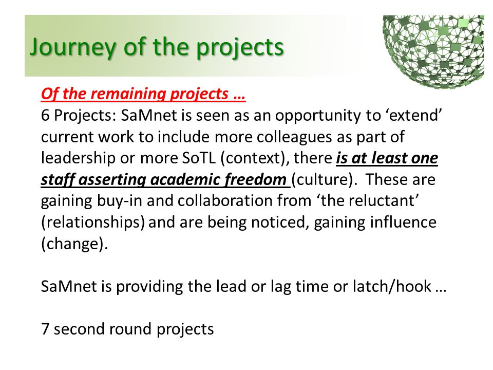 Journey of the projects Of the remaining projects … 6 Projects: SaMnet is seen as an opportunity to 'extend' current work to include more colleagues a
