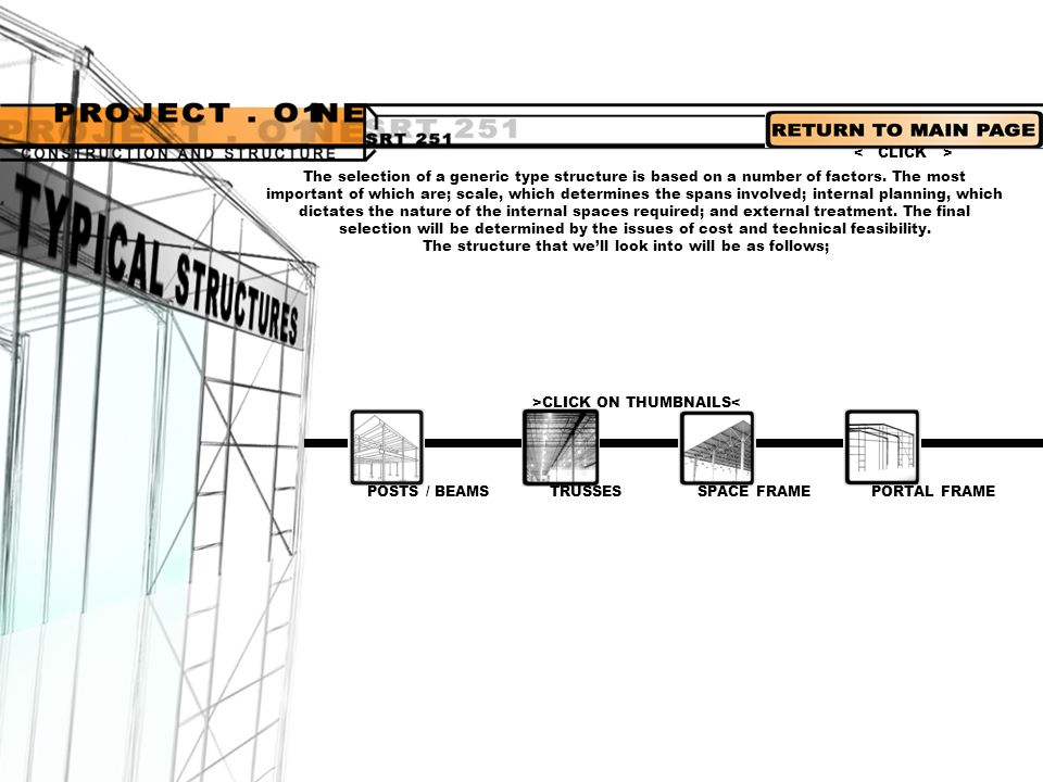 POSTS / BEAMS PORTAL FRAMETRUSSESSPACE FRAME Brief intro -seen in most architectural structures -consist of horizontal spanning elements supported on vertical columns or walls.