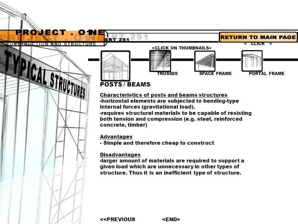 PORTAL FRAME TRUSSES SPACE FRAMEPOSTS / BEAMS Brief intro -a braced framework of ties, beams or bars usually arranged in a series of triangles, as for the support of roofs.