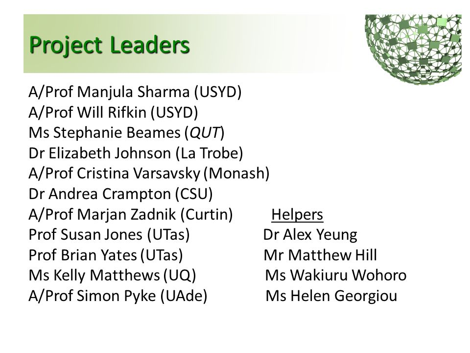 Project Leaders A/Prof Manjula Sharma (USYD) A/Prof Will Rifkin (USYD) Ms Stephanie Beames (QUT) Dr Elizabeth Johnson (La Trobe) A/Prof Cristina Varsa