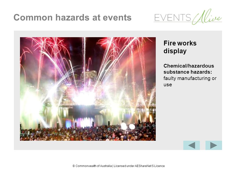 © Commonwealth of Australia | Licensed under AEShareNet S Licence Common hazards at events Fire works display Chemical/hazardous substance hazards: faulty manufacturing or use