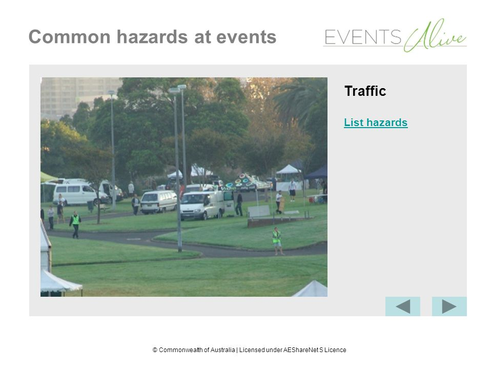 © Commonwealth of Australia | Licensed under AEShareNet S Licence Common hazards at events Traffic List hazards