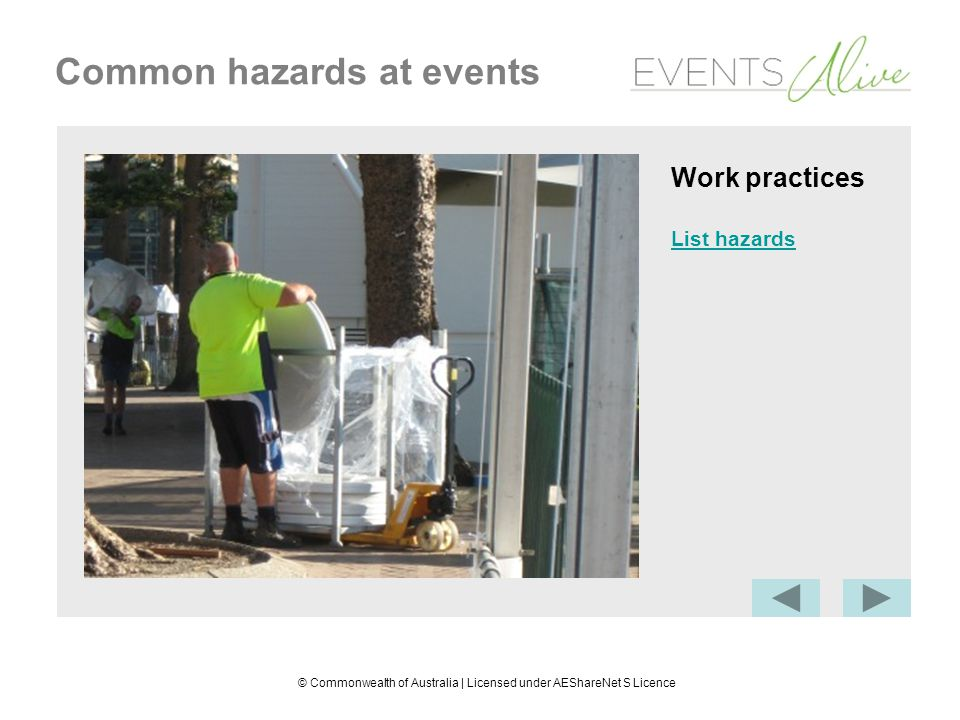 © Commonwealth of Australia | Licensed under AEShareNet S Licence Common hazards at events Work practices List hazards