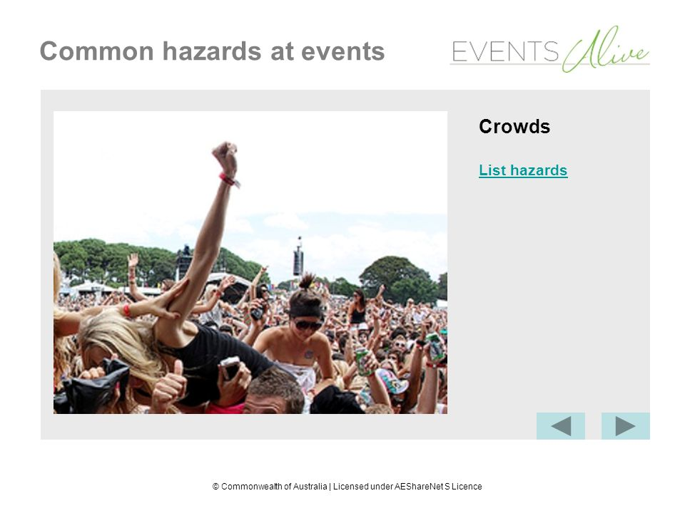 © Commonwealth of Australia | Licensed under AEShareNet S Licence Common hazards at events Weather Physical hazard: extreme temperatures causing sunburn, fatigue, exhaustion, chills
