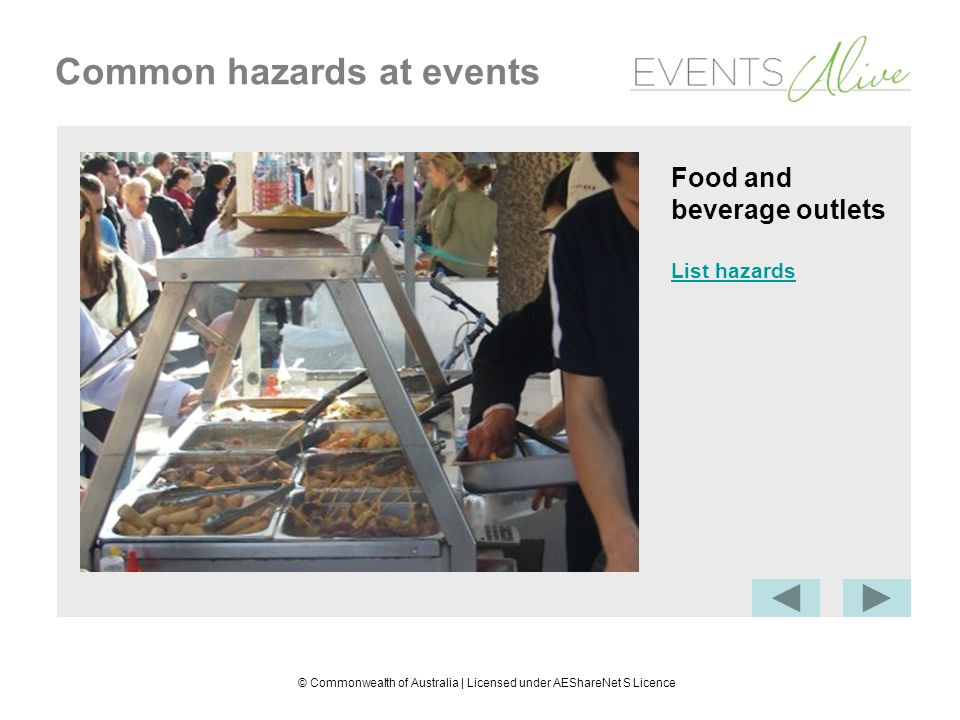 © Commonwealth of Australia | Licensed under AEShareNet S Licence Common hazards at events Food and beverage outlets Biological hazard: food poisoning Fire or explosion hazard: electrical or gas equipment