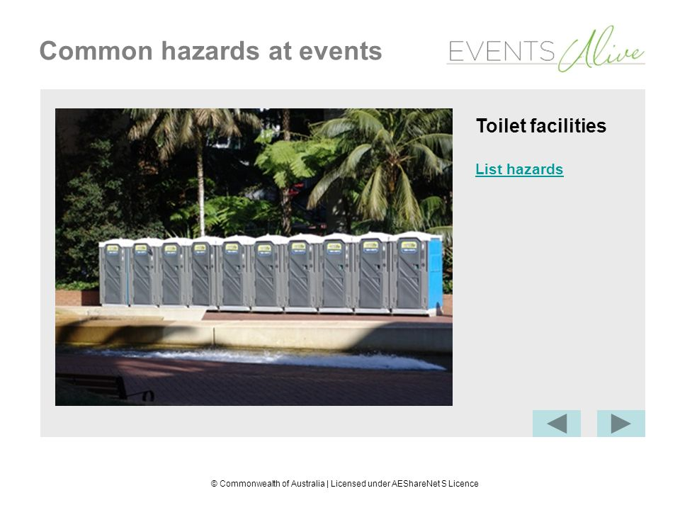 © Commonwealth of Australia | Licensed under AEShareNet S Licence Common hazards at events Work environment Biological and physical hazards: cleanliness and suitabiity of the work environment