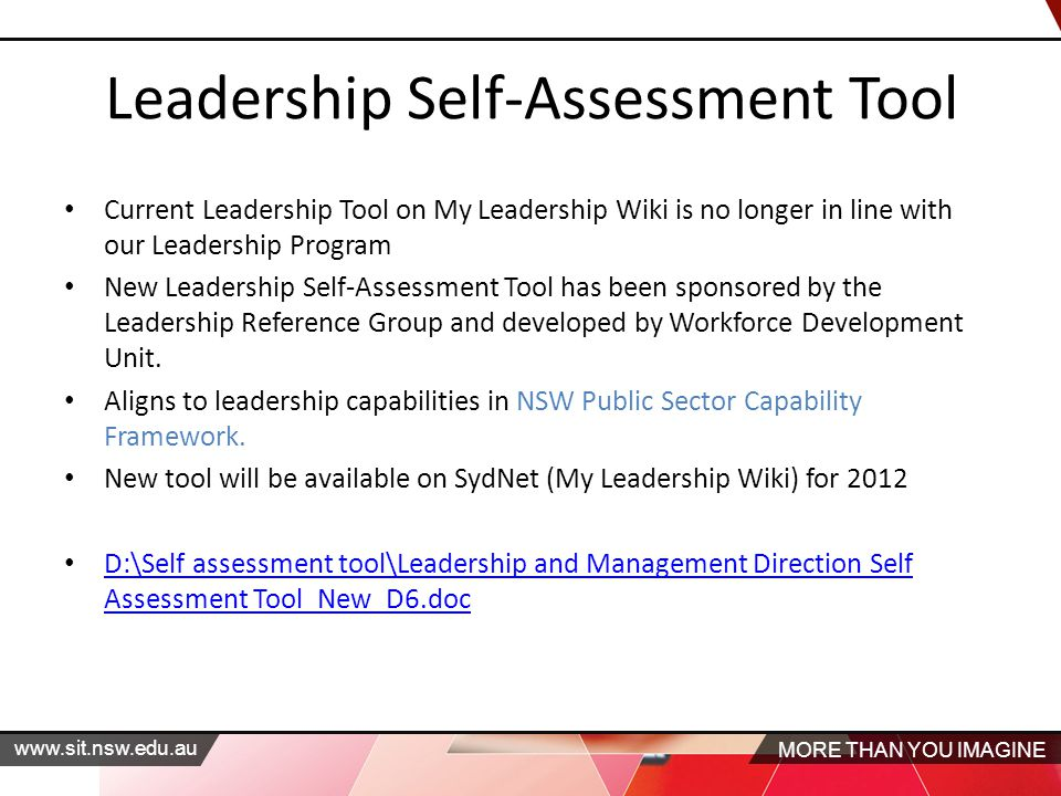 MORE THAN YOU IMAGINE www.sit.nsw.edu.au Leadership Self-Assessment Tool Current Leadership Tool on My Leadership Wiki is no longer in line with our Leadership Program New Leadership Self-Assessment Tool has been sponsored by the Leadership Reference Group and developed by Workforce Development Unit.