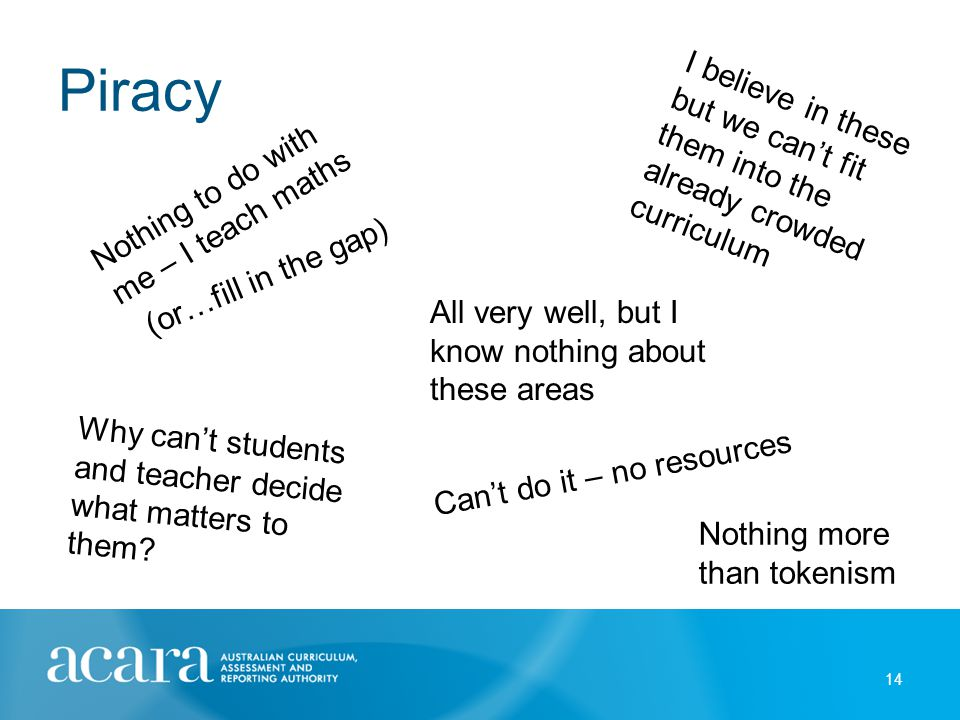 Piracy 14 Nothing to do with me – I teach maths I believe in these but we can't fit them into the already crowded curriculum All very well, but I know nothing about these areas Can't do it – no resources Why can't students and teacher decide what matters to them.