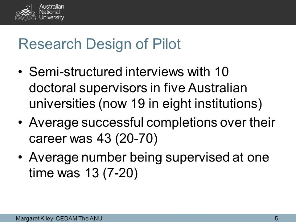 Research Design of Pilot Semi-structured interviews with 10 doctoral supervisors in five Australian universities (now 19 in eight institutions) Average successful completions over their career was 43 (20-70) Average number being supervised at one time was 13 (7-20) Margaret Kiley: CEDAM The ANU5