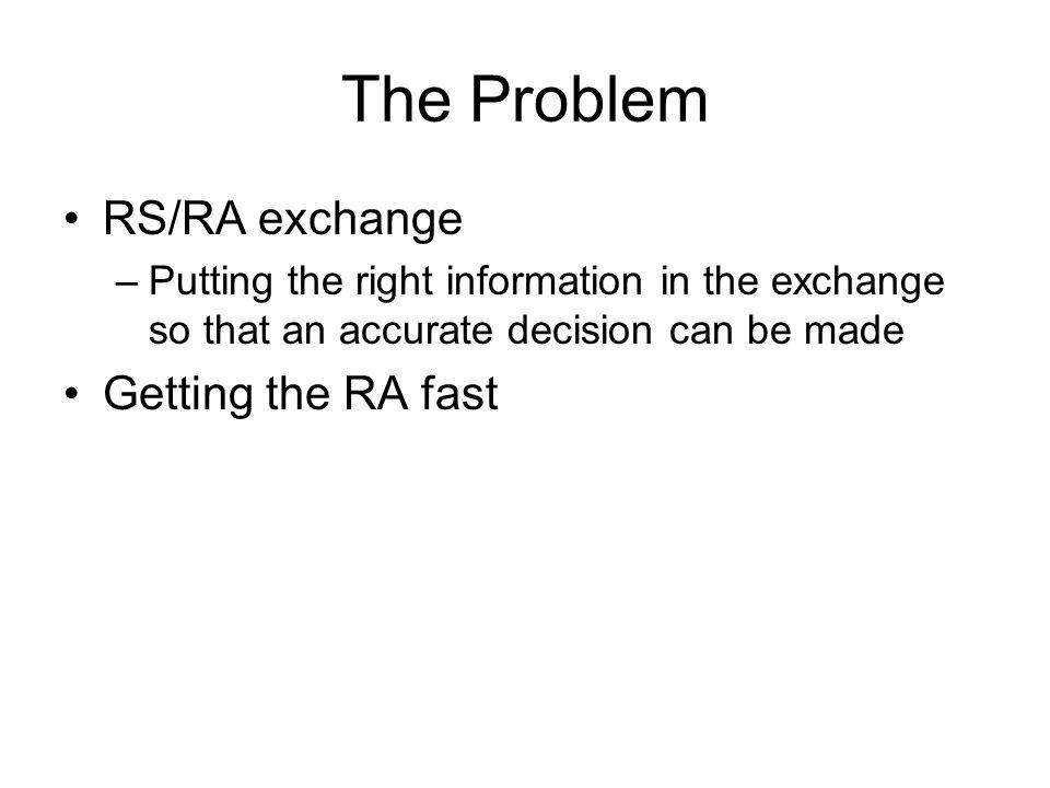 RS/RA Exchange Explicit Link Identifier –Random –Prefix-based Complete RA Pre-based Landmark Priority Landmark Hybrid Landmark