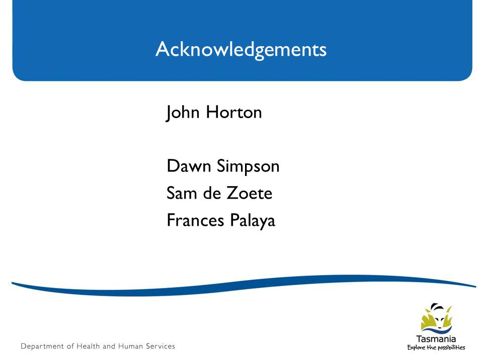 Acknowledgements John Horton Dawn Simpson Sam de Zoete Frances Palaya