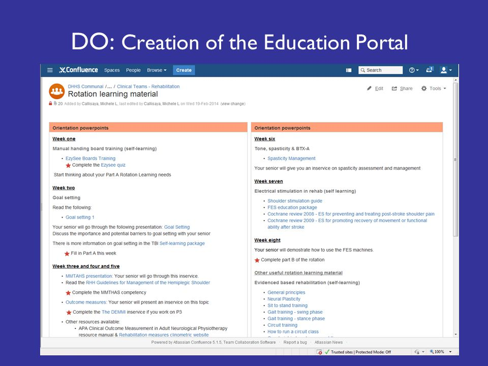 DO: Creation of the Education Portal