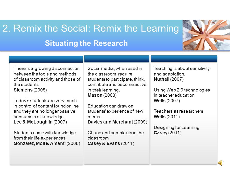 1. Remix the Social: Remix the Learning To Remix 3 To interrogate To Generate.