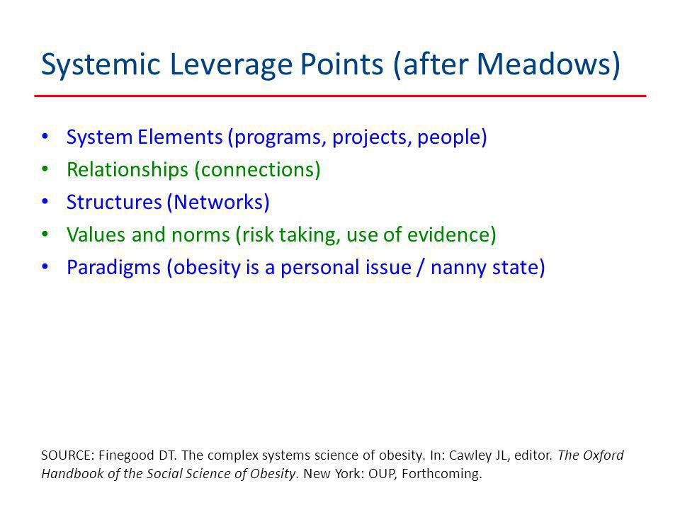 Systemic Leverage Points (after Meadows) System Elements (programs, projects, people) Relationships (connections) Structures (Networks) Values and norms (risk taking, use of evidence) Paradigms (obesity is a personal issue / nanny state) SOURCE: Finegood DT.