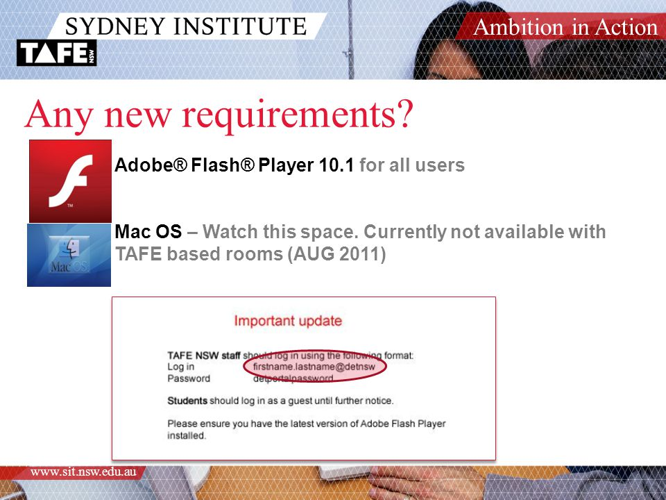 Ambition in Action www.sit.nsw.edu.au Any new requirements.