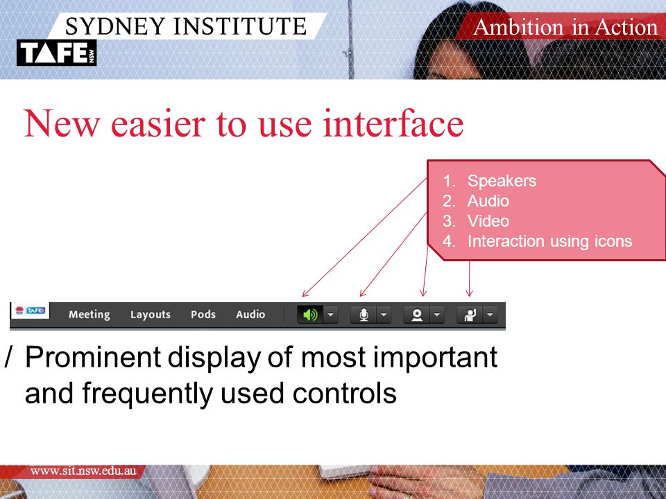 Ambition in Action www.sit.nsw.edu.au New easier to use interface /Prominent display of most important and frequently used controls 1.Speakers 2.Audio 3.Video 4.Interaction using icons
