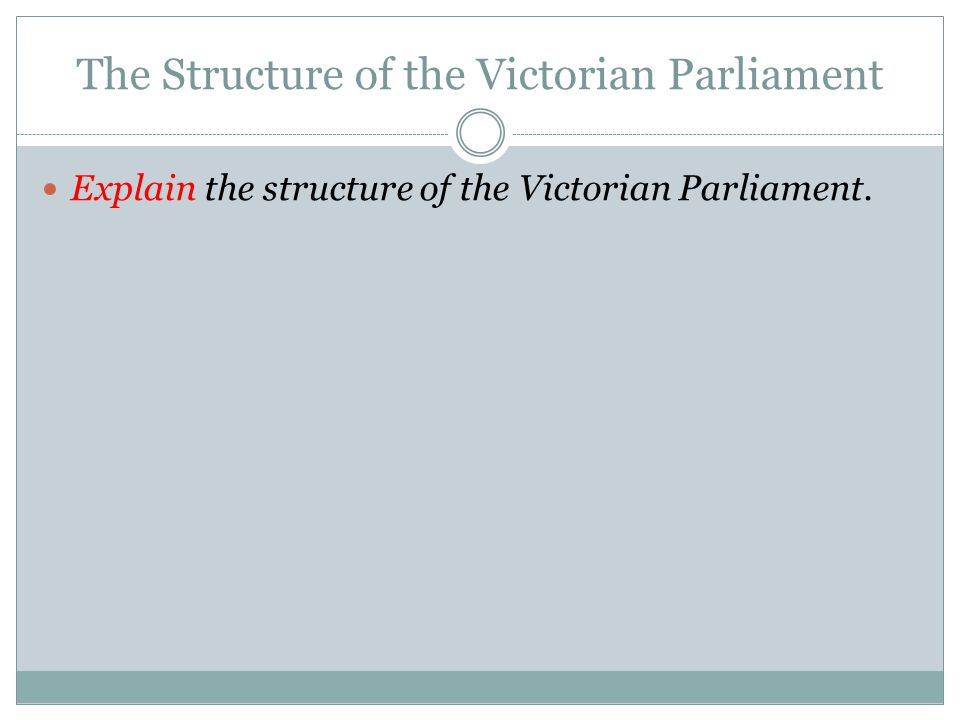 The Structure of the Victorian Parliament Explain the structure of the Victorian Parliament.