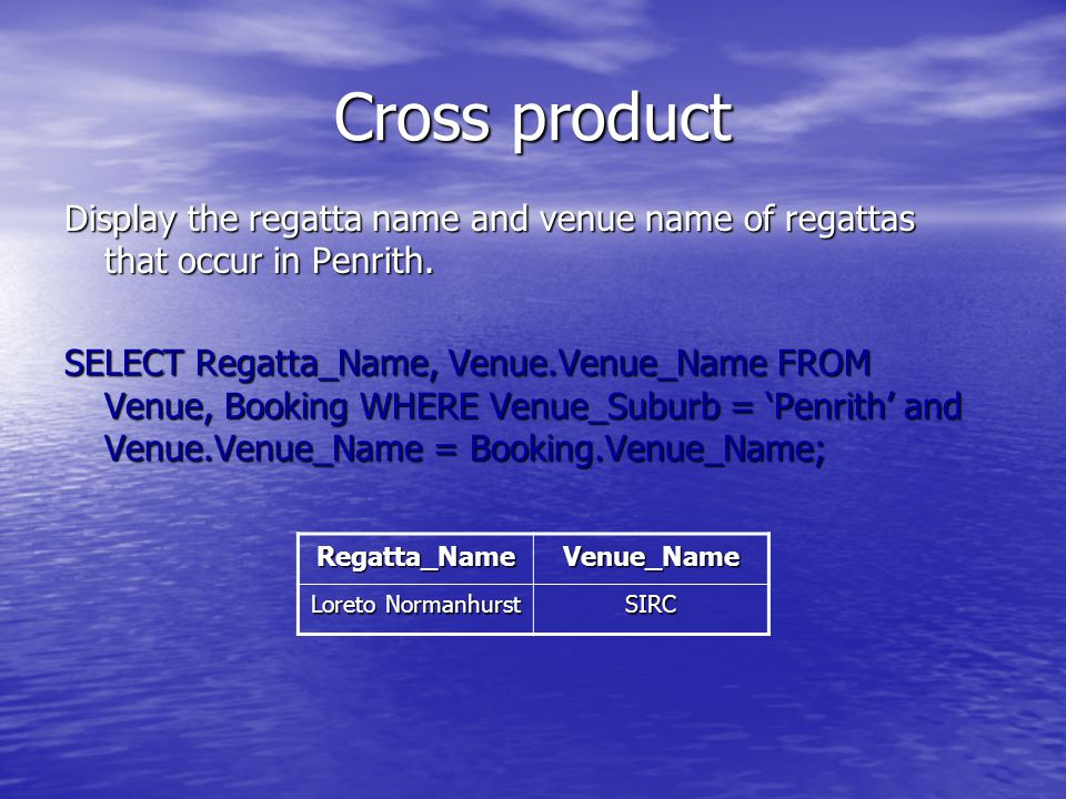 Cross product Display the regatta name and venue name of regattas that occur in Penrith.