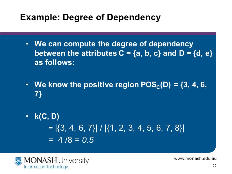www.monash.edu.au 20 Example: Degree of Dependency We can compute the degree of dependency between the attributes C = {a, b, c} and D = {d, e} as follows: We know the positive region POS C (D) = {3, 4, 6, 7} k(C, D) = |{3, 4, 6, 7}| / |{1, 2, 3, 4, 5, 6, 7, 8}| = 4 /8 = 0.5