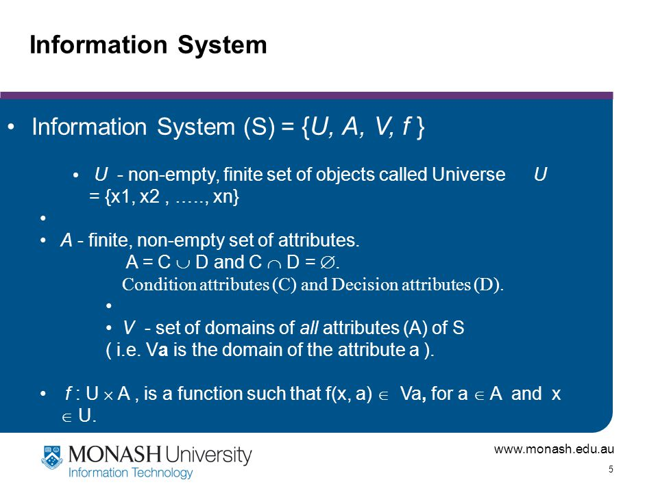 www.monash.edu.au 26 Rough Sets: Bigger Picture Used for Data Mining Several Algorithms for Learning Mostly Classification Deals with real world data Noisy and Missing Values And many more applications …