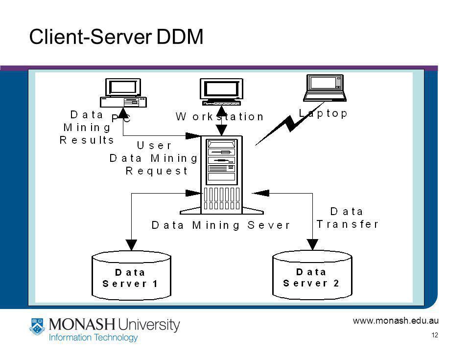 www.monash.edu.au 12 Client-Server DDM