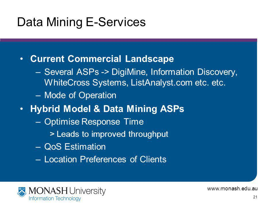 www.monash.edu.au 21 Data Mining E-Services Current Commercial Landscape –Several ASPs -> DigiMine, Information Discovery, WhiteCross Systems, ListAnalyst.com etc.