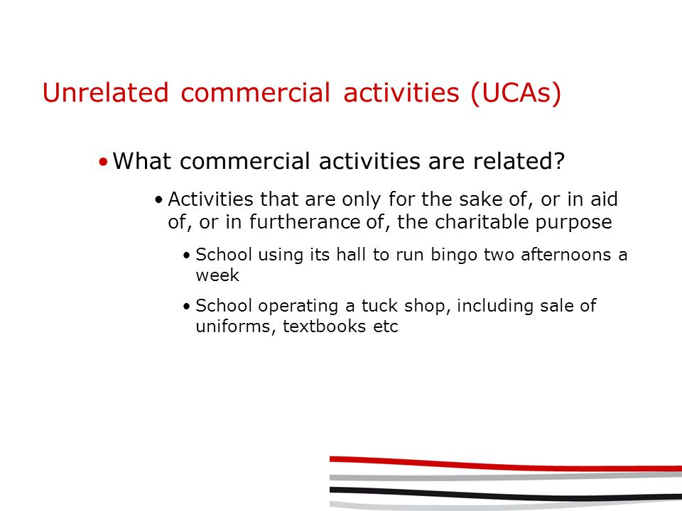 Unrelated commercial activities (UCAs) What commercial activities are related.