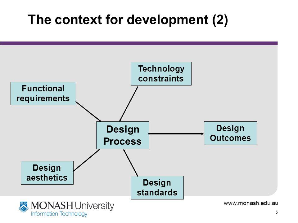 www.monash.edu.au 5 The context for development (2) Design Process Design standards Technology constraints Design aesthetics Functional requirements D