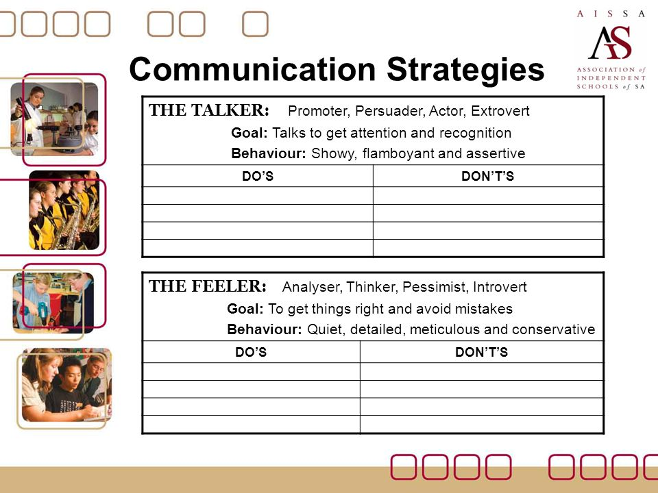 Communication Strategies THE DOER: Controller, Enforcer, Disciplinarian, Pragmatic Goal: To be in charge and get results Behaviour: Quick, blunt, to the point, aggressive DO'SDON'T'S THE THINKER: Supporter, Peacemaker, Amiable, Team Player Goal: To get along with people and get their approval Behaviour: Warm, friendly, shy and passive DO'SDON'T'S