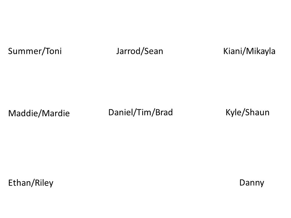 Summer/ToniKiani/MikaylaJarrod/Sean Ethan/Riley Maddie/Mardie Daniel/Tim/BradKyle/Shaun Danny