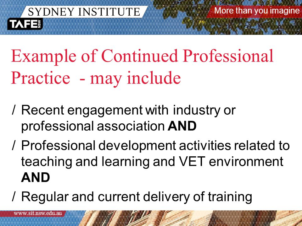 More than you imagine www.sit.nsw.edu.au How will you gather valuable information about continued professional practice in a time effective manner??